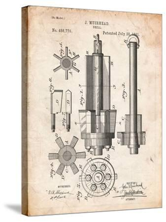 Drill Tool Patent-Cole Borders-Stretched Canvas Print