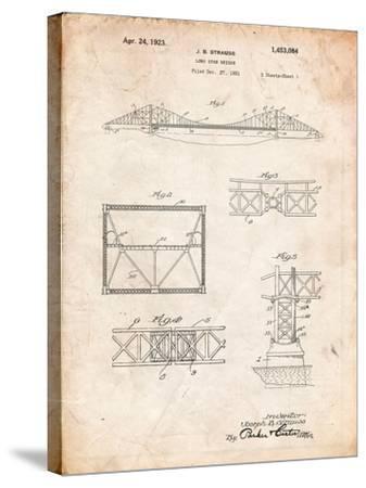 Golden Gate Bridge Patent, Long Span Bridge-Cole Borders-Stretched Canvas Print