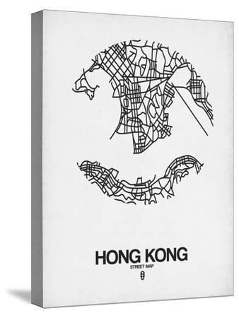 Hong Kong Street Map White-NaxArt-Stretched Canvas Print