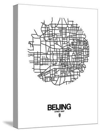 Beijing Street Map White-NaxArt-Stretched Canvas Print