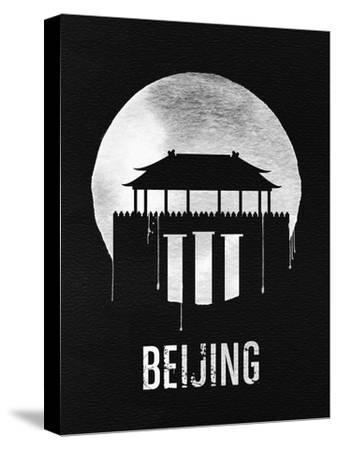 Beijing Landmark Black--Stretched Canvas Print