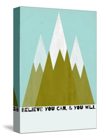Believe You Can-Mountains - Silouhette Typography-Shanni Welch-Stretched Canvas Print