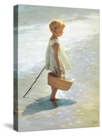 Young Girl on a Beach-I^ Davidi-Stretched Canvas Print