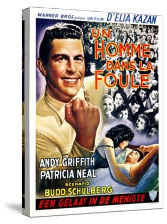 A Face in the Crowd, (aka Un Homme Dans La Foule), Belgian Poster Art, Andy Griffith, 1957--Stretched Canvas Print