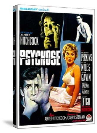 Psycho, (aka Psychose), Belgian Poster Art, 1960--Stretched Canvas Print