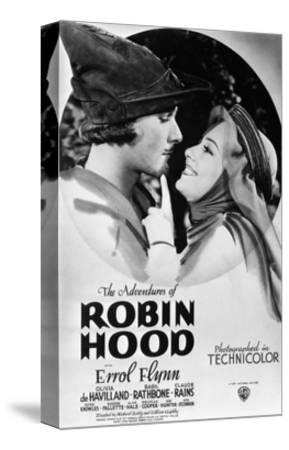 The Adventures of Robin Hood, from Left, Errol Flynn, Olivia De Havilland, 1938--Stretched Canvas Print