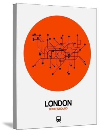 London Orange Subway Map-NaxArt-Stretched Canvas Print