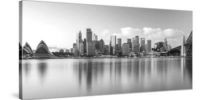 Sydney Harbour Bridge and Skylines at Dusk, Sydney, New South Wales, Australia--Stretched Canvas Print