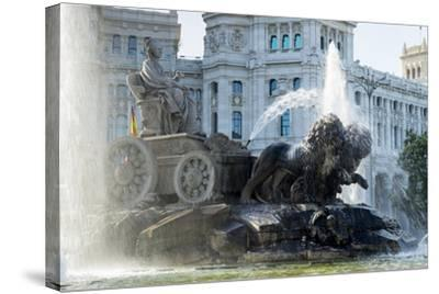 Fountain and Plaza De Cibeles Palace (Palacio De Comunicaciones), Plaza De Cibeles, Madrid-Charles Bowman-Stretched Canvas Print