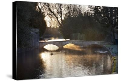 Cotswold Stone Bridge over River Windrush in Mist, Bourton-On-The-Water, Cotswolds-Stuart Black-Stretched Canvas Print