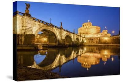 Dusk on Ancient Palace of Castel Sant'Angelo with Statues of Angels-Roberto Moiola-Stretched Canvas Print