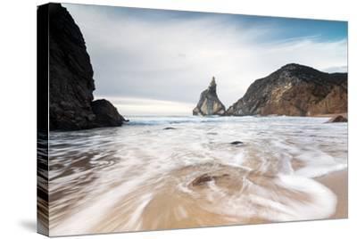 Ocean Waves Crashing on the Sandy Beach of Praia Da Ursa Surrounded by Cliffs, Cabo Da Roca-Roberto Moiola-Stretched Canvas Print