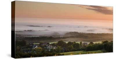 Looking over Delamere Village from Eddisbury Hill on an Autumn Morning-Garry Ridsdale-Stretched Canvas Print