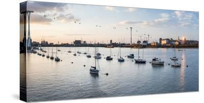 River Thames at Sunset and the Emirates Air Line Cable Car, East London, England-Matthew Williams-Ellis-Stretched Canvas Print