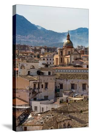 View of the Rooftops of Palermo with the Hills Beyond, Sicily, Italy, Europe-Martin Child-Stretched Canvas Print