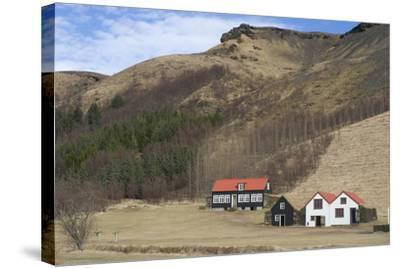 Traditional Turf Half Underground Houses and Old School from the Last Century Near Skogafoss-Natalie Tepper-Stretched Canvas Print