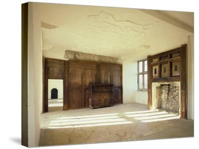 Interior View of the First Floor Room in the Tudor Mansion, Helmsley Castle, North Yorkshire, UK-English Heritage-Stretched Canvas Print
