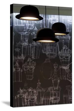 Bowler Hats as Light Fittings-David Barbour-Stretched Canvas Print