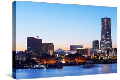 Asia, Japan, Honshu, Yokohama Bay, City Skyline and Mt Fuji, Landmark Tower-Christian Kober-Stretched Canvas Print