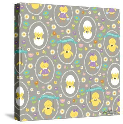 Happy Easter Chicks-Elizabeth Caldwell-Stretched Canvas Print