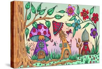 Mushroom Houses Coloured-Delyth Angharad-Stretched Canvas Print