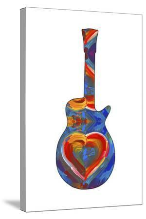 Pop Art Guitar Heart Brush-Howie Green-Stretched Canvas Print