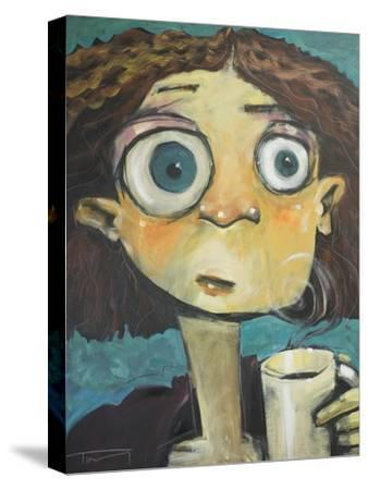 Her First Sip of Coffee-Tim Nyberg-Stretched Canvas Print
