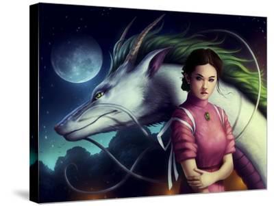 Dragon Night-JoJoesArt-Stretched Canvas Print