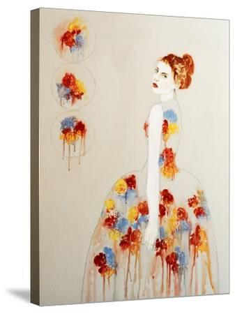 Redhead with Red and Blue Flowers, 2016-Susan Adams-Stretched Canvas Print