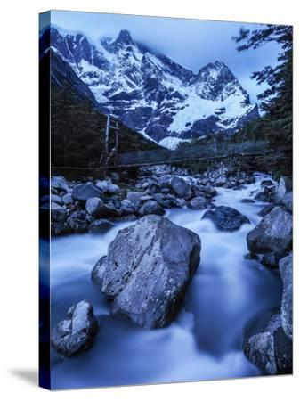 Rio Del Frances Cascades Out of the Valle Frances in Torres Del Paine National Park-Jay Dickman-Stretched Canvas Print