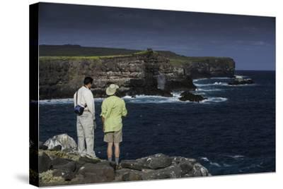 Tourists Looking at the Sea Cliffs of Espanola Island-Jad Davenport-Stretched Canvas Print