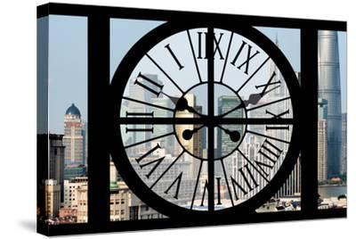 Giant Clock Window - View of Downtown Shanghai - China-Philippe Hugonnard-Stretched Canvas Print