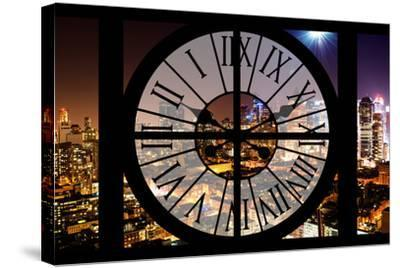 Giant Clock Window - Night View of Manhattan - Hell's Kitchen-Philippe Hugonnard-Stretched Canvas Print