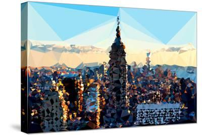 Low Poly New York Art - Skyline Sunset-Philippe Hugonnard-Stretched Canvas Print