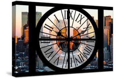 Giant Clock Window - View of Hell's Kitchen in Winter - Manhattan-Philippe Hugonnard-Stretched Canvas Print