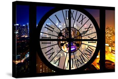 Giant Clock Window - City View at Night - New York-Philippe Hugonnard-Stretched Canvas Print