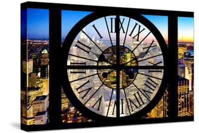 Giant Clock Window - View of Manhattan by Night-Philippe Hugonnard-Stretched Canvas Print