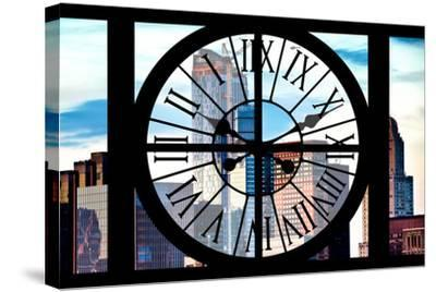 Giant Clock Window - View of Manhattan Skyscrapers-Philippe Hugonnard-Stretched Canvas Print