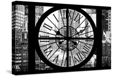 Giant Clock Window - View on Turtle Bay Buildings - New York City-Philippe Hugonnard-Stretched Canvas Print