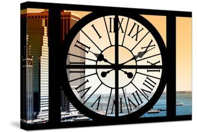 Giant Clock Window - View on the New York City - East River at Sunset-Philippe Hugonnard-Stretched Canvas Print