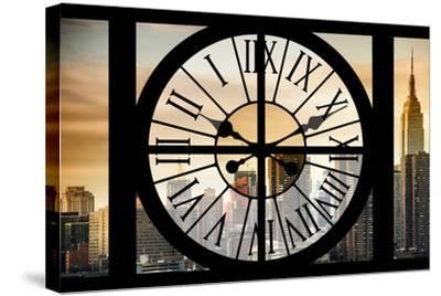 Giant Clock Window - View on the New York City - Golden Sunset-Philippe Hugonnard-Stretched Canvas Print