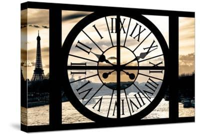 Giant Clock Window - View on Paris at Sunset-Philippe Hugonnard-Stretched Canvas Print