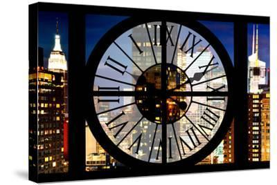 Giant Clock Window - View of Manhattan with the Empire State Building III-Philippe Hugonnard-Stretched Canvas Print