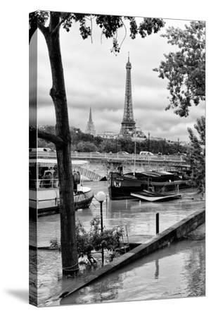 Paris sur Seine Collection - Barges on the Seine-Philippe Hugonnard-Stretched Canvas Print