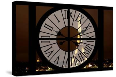 Giant Clock Window - View of the Eiffel Tower by Night - Paris II-Philippe Hugonnard-Stretched Canvas Print