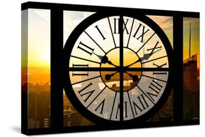 Giant Clock Window - View on the New York City - Beautiful Sunset II-Philippe Hugonnard-Stretched Canvas Print