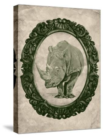 Framed Rhinoceros in Evergreen-THE Studio-Stretched Canvas Print