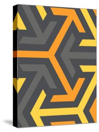 Monochrome Patterns 8 in Yellow-Natasha Marie-Stretched Canvas Print