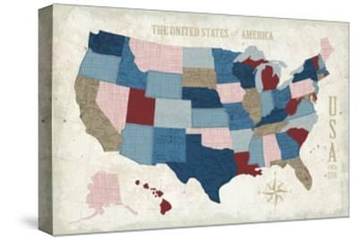 USA Modern Vintage Blue-Michael Mullan-Stretched Canvas Print