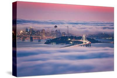 Fog City Dream, San Francisco Night Cityscape and Sunset Fog-Vincent James-Stretched Canvas Print
